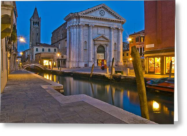 Venice - Italy Greeting Cards - Venice Lights Greeting Card by Douglas Girard