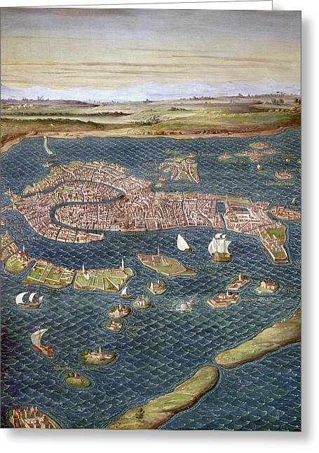 Carousel Collection Greeting Cards - Venice: Map, 16th Century Greeting Card by Granger