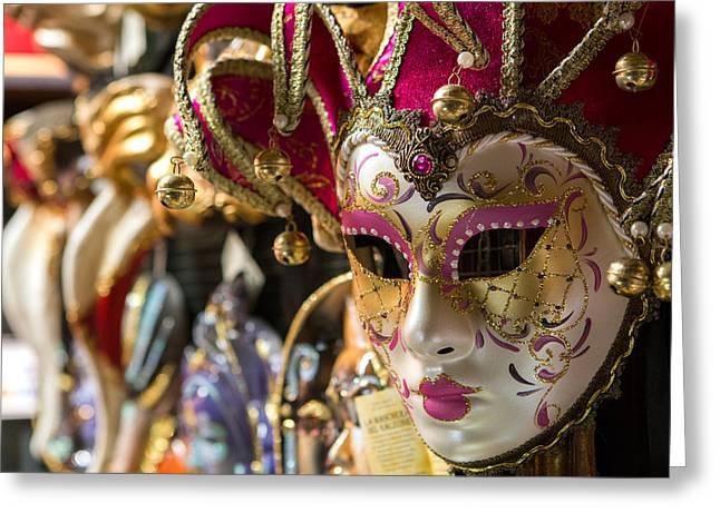 Venice Pyrography Greeting Cards - Venice mask Greeting Card by Daniel Estrada