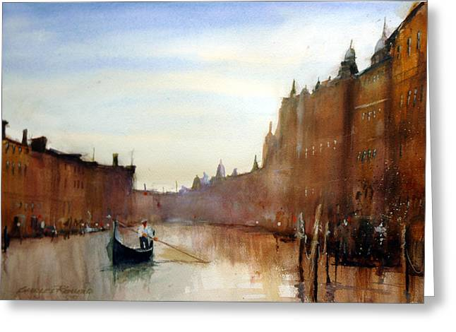 Italy Canal Greeting Cards - Venice Mist Greeting Card by Charles Rowland