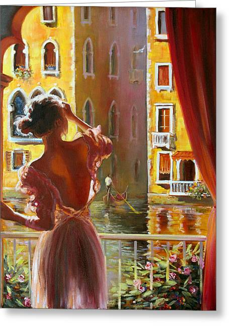 Floating Girl Greeting Cards - Venice morning. Greeting Card by Roman Fedosenko