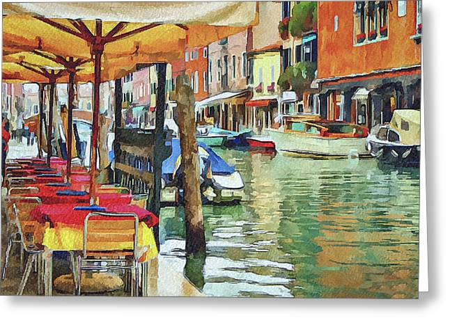 Gondolier Greeting Cards - Venice Murano Greeting Card by Yury Malkov