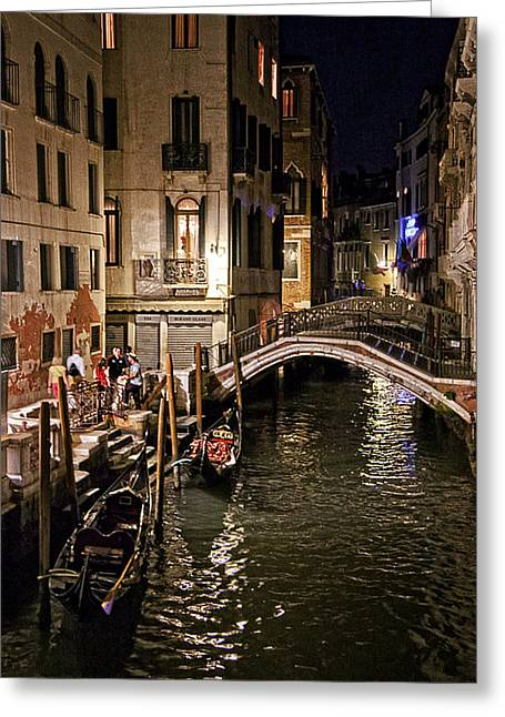 Gondolier Greeting Cards - Venice Night by the Canal Greeting Card by Madeline Ellis