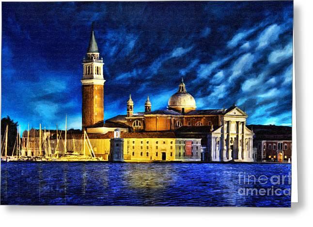 Italian Sunset Mixed Media Greeting Cards - Venice Night Greeting Card by Milan Karadzic