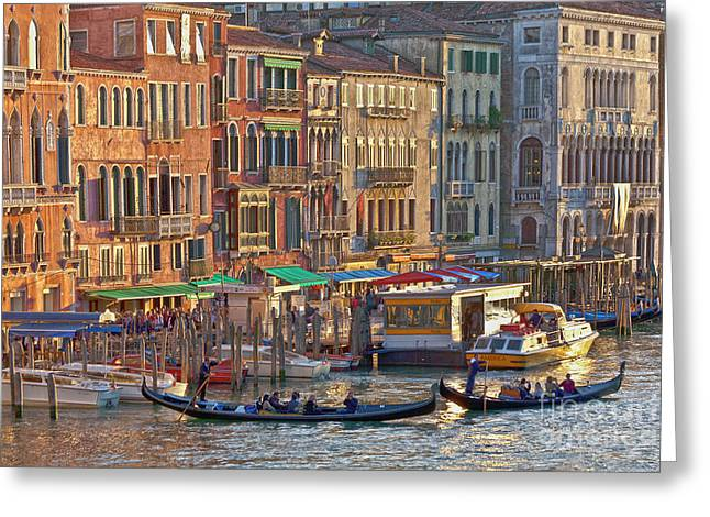 Venedig Greeting Cards - Venice palazzi at sundown Greeting Card by Heiko Koehrer-Wagner