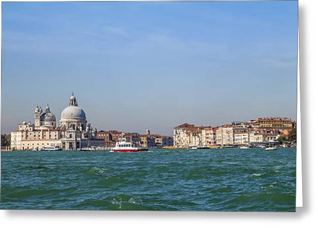 Watch Tower Greeting Cards - VENICE Panoramic Greeting Card by Melanie Viola