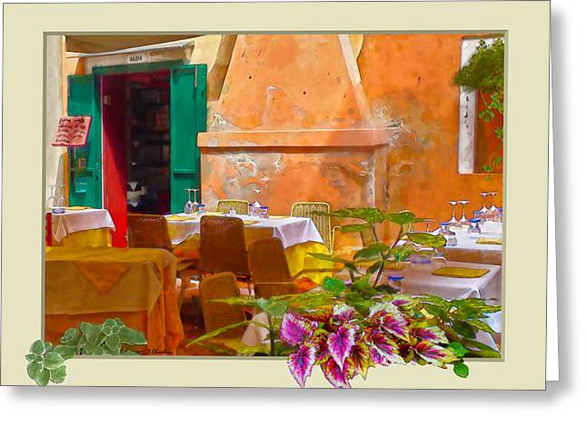 Hanging Wine Glasses Greeting Cards - Venice Patio Cafe Greeting Card by Debra Chmelina