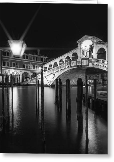 Night Lamp Greeting Cards - VENICE Rialto Bridge at Night in black and white Greeting Card by Melanie Viola