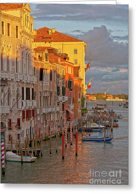 Venedig Greeting Cards - Venice romantic evening Greeting Card by Heiko Koehrer-Wagner