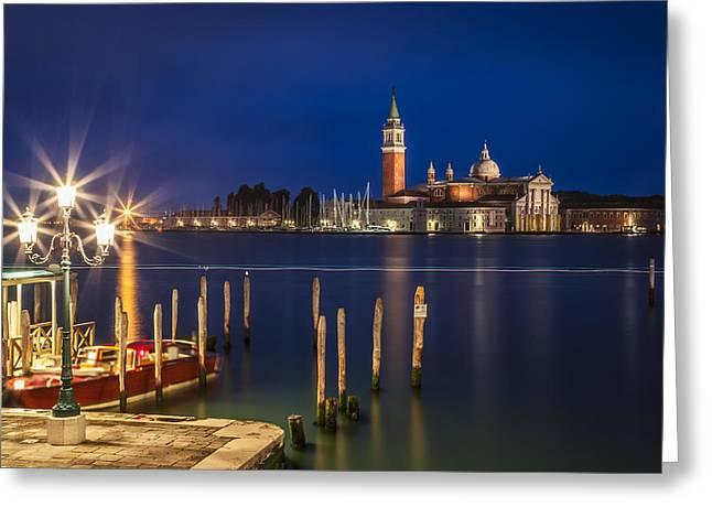 Night Lamp Greeting Cards - VENICE San Giorgio Maggiore at Blue Hour Greeting Card by Melanie Viola