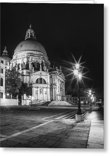Venice Santa Maria Della Salute Black And White Greeting Card by Melanie Viola