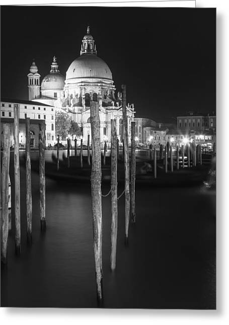 Venice Santa Maria Della Salute In Black And White Greeting Card by Melanie Viola