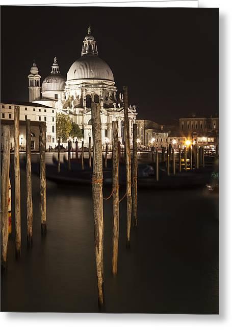 Night Lamp Greeting Cards - VENICE Santa Maria della Salute  Greeting Card by Melanie Viola
