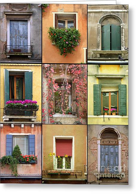 Europe Mixed Media Greeting Cards - Venice Shutters Greeting Card by Robyn Saunders