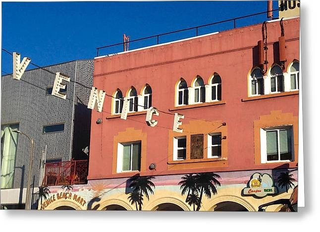 Venice Sign Greeting Card by Art Block Collections
