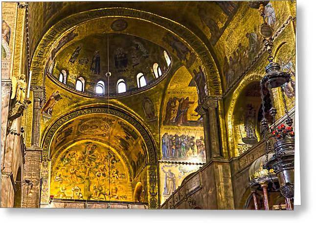 The Piazza Greeting Cards - Venice - St Marks Basilica Interior Greeting Card by Jon Berghoff