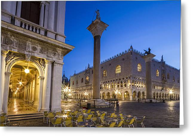Night Lamp Greeting Cards - VENICE St Marks Square and Doges Palace in the Morning Greeting Card by Melanie Viola