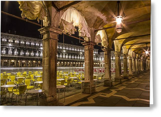 Cafe City Lights Greeting Cards - VENICE St Marks Square at Night Greeting Card by Melanie Viola