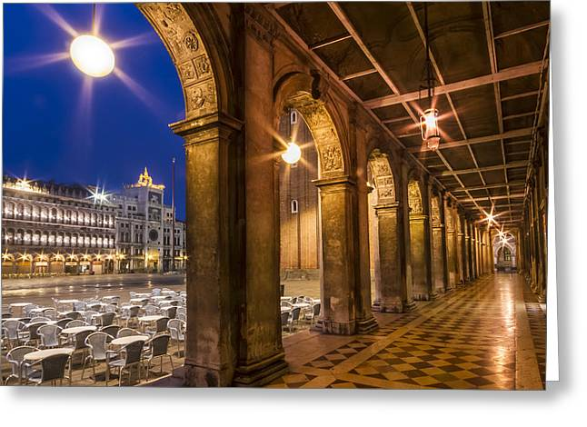 Cafe City Lights Greeting Cards - VENICE St Marks Square during Blue Hour Greeting Card by Melanie Viola