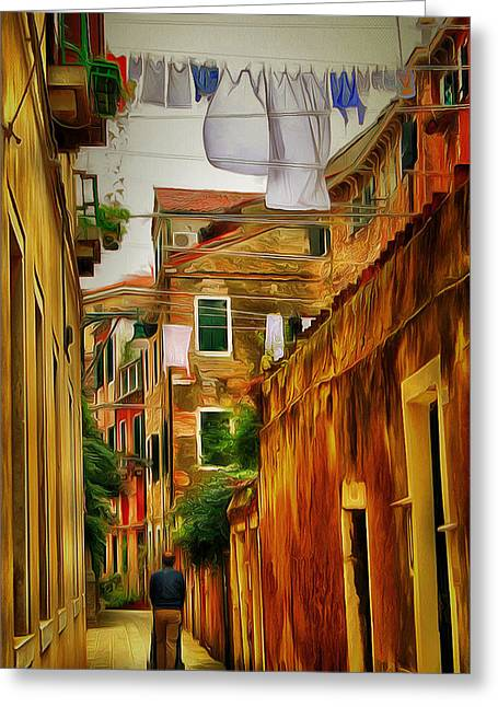 Live Art Greeting Cards - Venice Streets 1 Greeting Card by Yury Malkov