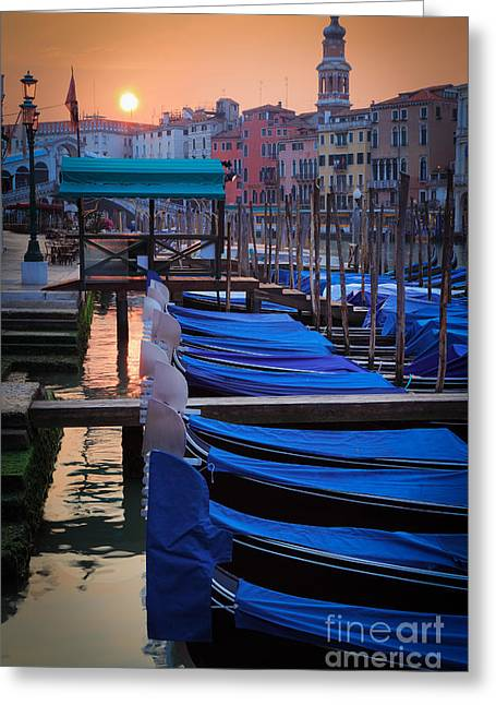 Canal Greeting Cards - Venice Sunrise Greeting Card by Inge Johnsson