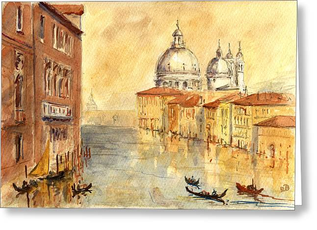 Italy Canal Greeting Cards - Venice Sunset Greeting Card by Juan  Bosco