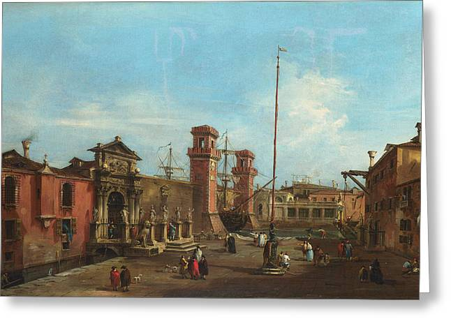 Arsenal Greeting Cards - Venice - The Arsenal Greeting Card by Francesco Guardi