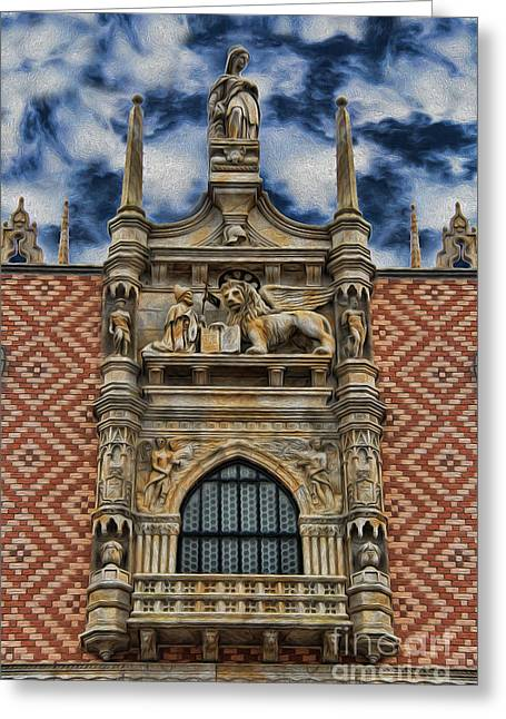 Byzantine Greeting Cards - Venice - The Lion of Saint Mark Greeting Card by Lee Dos Santos