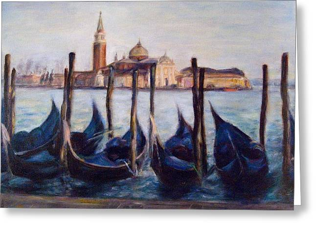 Travel Narratives Greeting Cards - Venice Through the Gondolas Italy Painting Greeting Card by Quin Sweetman
