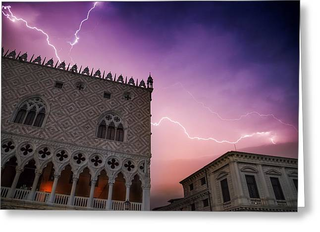 Night Lamp Greeting Cards - VENICE Thunderstorm over Doges Palace Greeting Card by Melanie Viola