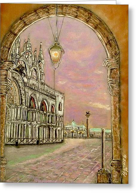 Brick Buildings Pastels Greeting Cards - Venice Greeting Card by Ugo Paradiso