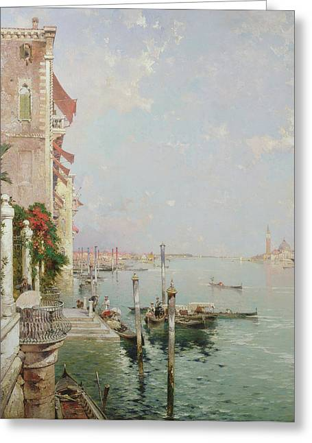 Lagoon Greeting Cards - Venice View From The Zattere With San Giorgio Maggiore In The Distance Greeting Card by Franz Richard Unterberger