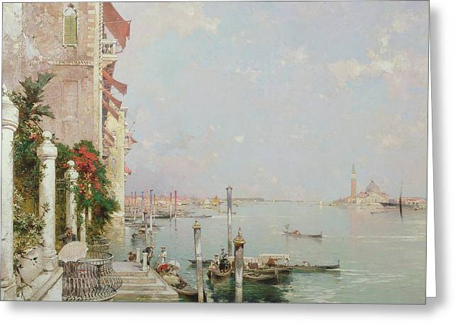Venice View From The Zattere With San Giorgio Maggiore In The Distance Greeting Card by Franz Richard Unterberger