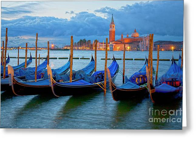 Venedig Greeting Cards - Venice View to San Giorgio Maggiore Greeting Card by Heiko Koehrer-Wagner