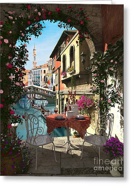 Roses Digital Greeting Cards - venice Vue Greeting Card by Dominic Davison