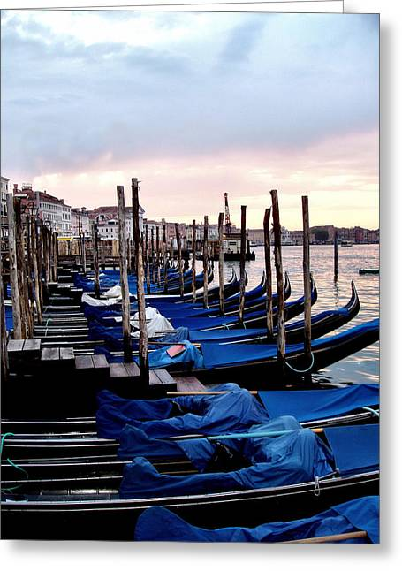 Seascape With A Boat Greeting Cards - Venice - Waiting for the Day to Start Greeting Card by Jenny Hudson