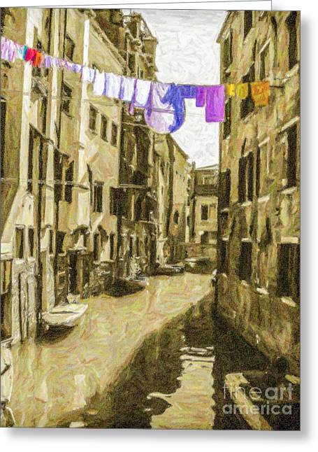 Venice Greeting Cards - Venice washing line Greeting Card by Liz Leyden