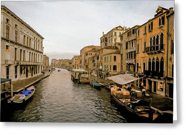 Italian Landscapes Mixed Media Greeting Cards - Venice Waterfront Marketplace Greeting Card by Cliff Wassmann
