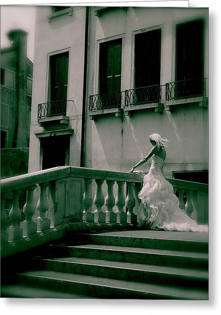 Flowing Blonde Hair Greeting Cards - Venice wedding Greeting Card by David Miller