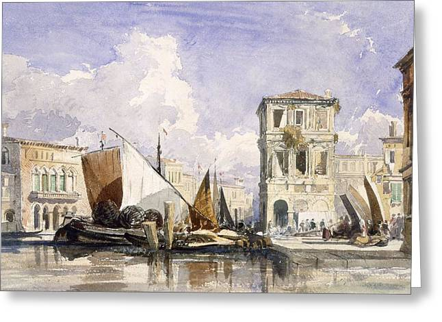 Canal Drawings Greeting Cards - Venice Greeting Card by William James Muller