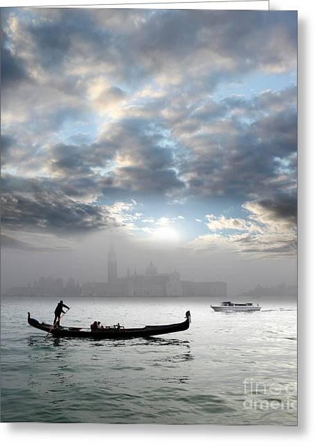 Italian Sunset Greeting Cards - Venice with gondola Greeting Card by Tomas Marek