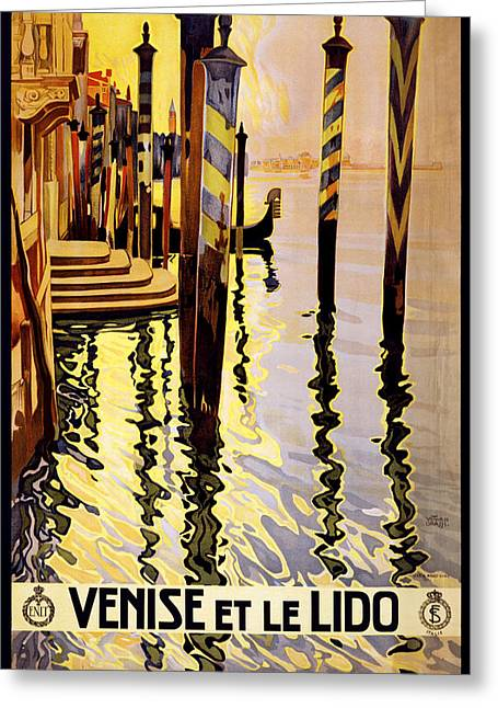 Italian Sunset Greeting Cards - Venise et le Lido Greeting Card by Nomad Art And  Design