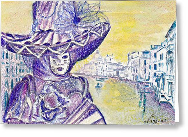 Aceo Original Drawings Greeting Cards - Venise Greeting Card by Nayia Jones
