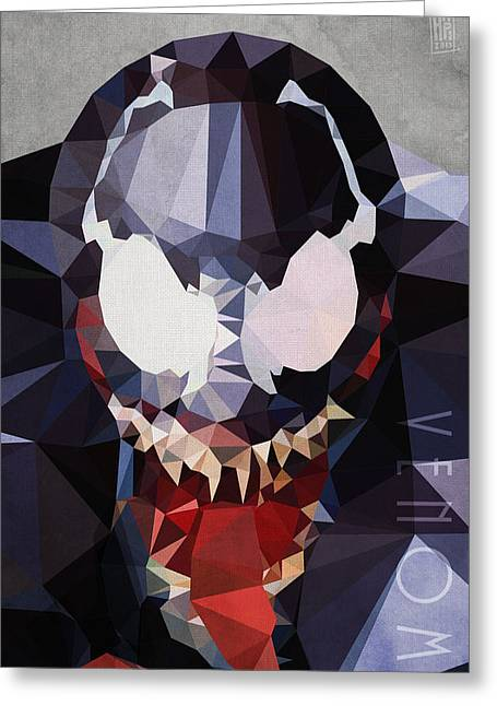 Spider-man Greeting Cards - Venom Greeting Card by Daniel Hapi