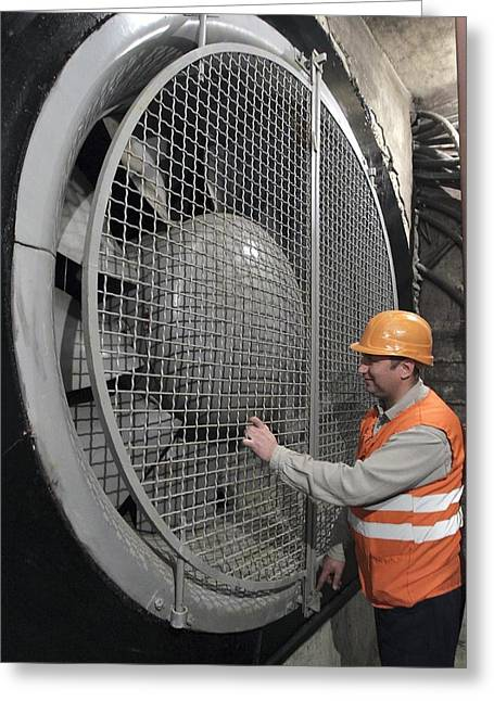 Electric Fan Greeting Cards - Ventilation fan in Moscow metro Greeting Card by Science Photo Library