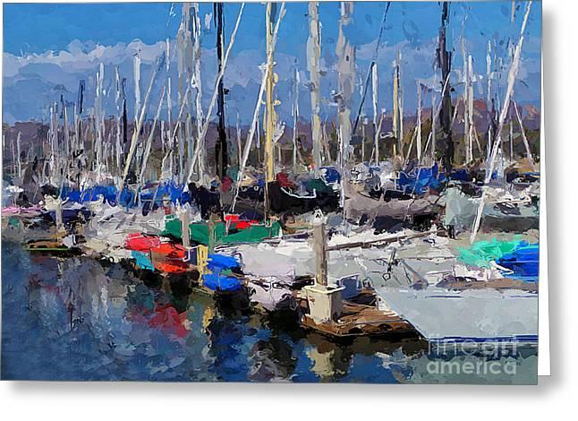 Sailboats Docked Mixed Media Greeting Cards - Ventura Harbor Village Greeting Card by Andrea Auletta