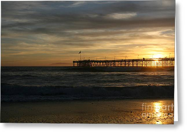 Ventura Pier 01-10-2010 Sunset  Greeting Card by Ian Donley