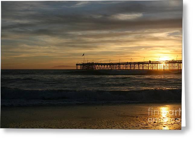 Santa Cruz Art Greeting Cards - Ventura Pier 01-10-2010 Sunset  Greeting Card by Ian Donley
