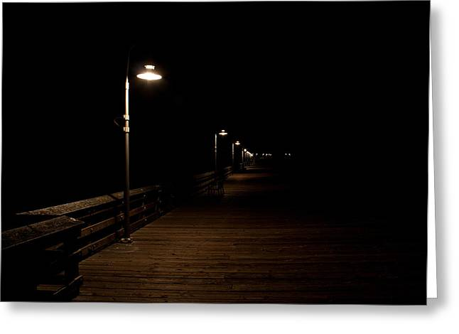Ventura Pier At Night Greeting Card by John Daly