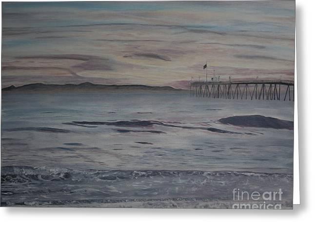 Santa Cruz Pier Greeting Cards - Ventura Pier High Surf Greeting Card by Ian Donley